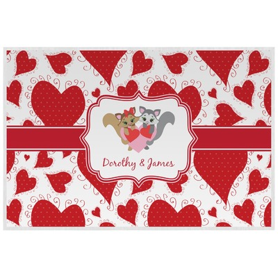 Cute Squirrel Couple Laminated Placemat w/ Couple's Names