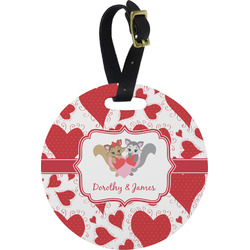 Cute Raccoon Couple Round Luggage Tag (Personalized)
