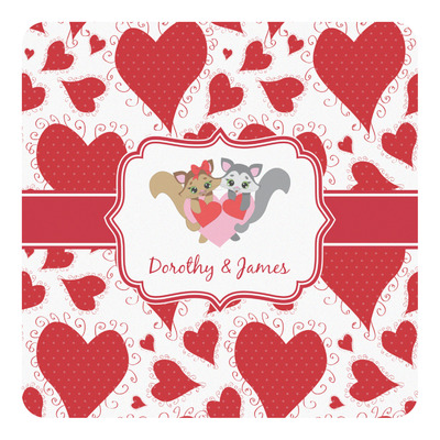 Cute Squirrel Couple Square Decal (Personalized)