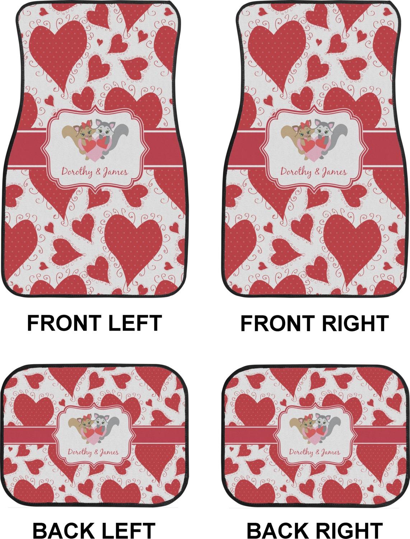 5a333fdf83 Cute Raccoon Couple Car Floor Mats Set - 2 Front & 2 Back ...