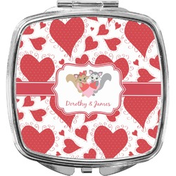 Cute Raccoon Couple Compact Makeup Mirror (Personalized)