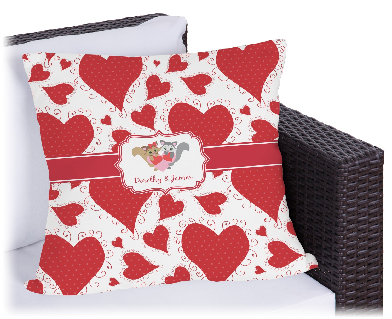 Cute Pillows For Couples : Cute Raccoon Couple Outdoor Pillow - 16
