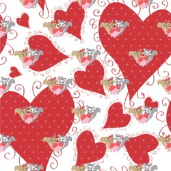 """Cute Raccoon Couple Wallpaper & Surface Covering (Peel & Stick 24""""x 24"""" Sample)"""