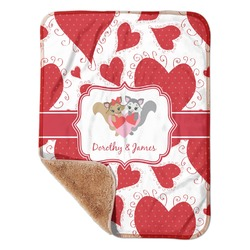 "Cute Squirrel Couple Sherpa Baby Blanket 30"" x 40"" (Personalized)"