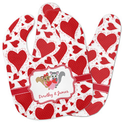 Cute Squirrel Couple Baby Bib w/ Couple's Names