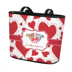 Cute Squirrel Couple Bucket Tote w/ Genuine Leather Trim (Personalized)