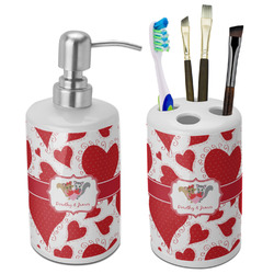 Cute Raccoon Couple Bathroom Accessories Set (Ceramic) (Personalized)