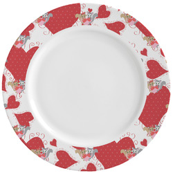 Cute Raccoon Couple Ceramic Dinner Plates (Set of 4) (Personalized)