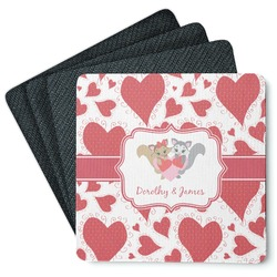 Cute Squirrel Couple 4 Square Coasters - Rubber Backed (Personalized)