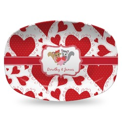 Cute Squirrel Couple Plastic Platter - Microwave & Oven Safe Composite Polymer (Personalized)