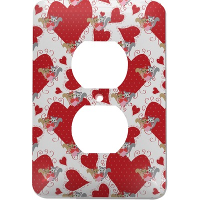 Cute Raccoon Couple Electric Outlet Plate (Personalized)