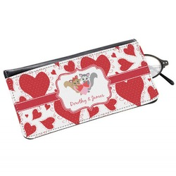 Cute Squirrel Couple Genuine Leather Eyeglass Case (Personalized)