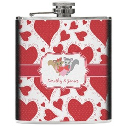 Cute Squirrel Couple Genuine Leather Flask (Personalized)