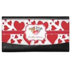 Cute Squirrel Couple Genuine Leather Ladies Wallet (Personalized)