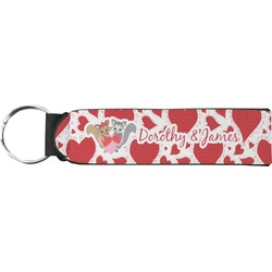Cute Squirrel Couple Neoprene Keychain Fob (Personalized)