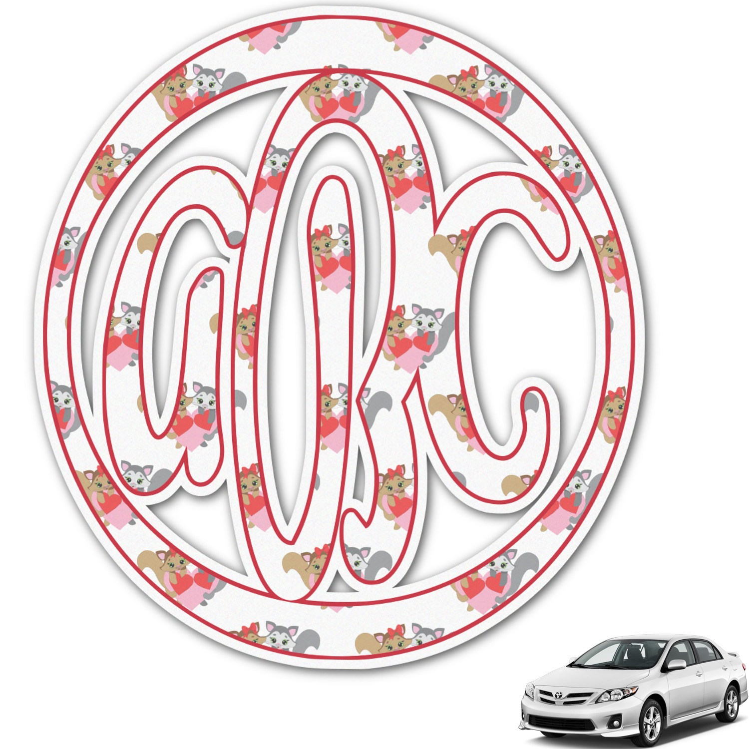 Kitchen Design Names Cute Squirrel Couple Monogram Car Decal Personalized