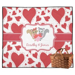 Cute Squirrel Couple Outdoor Picnic Blanket (Personalized)