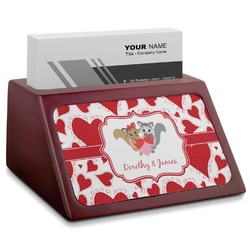 Cute Squirrel Couple Red Mahogany Business Card Holder (Personalized)