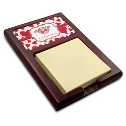 Cute Squirrel Couple Red Mahogany Sticky Note Holder (Personalized)