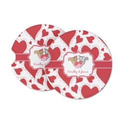 Cute Squirrel Couple Sandstone Car Coasters (Personalized)
