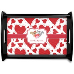 Cute Squirrel Couple Black Wooden Tray (Personalized)
