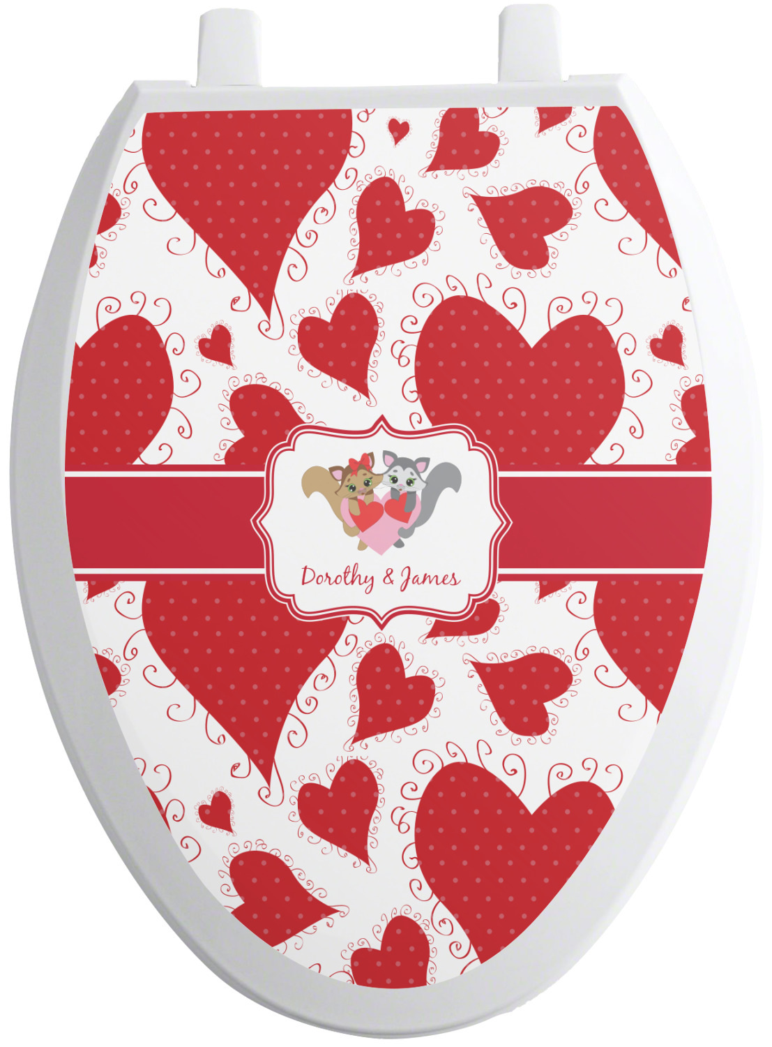 Cute Raccoon Couple Toilet Seat Decal Elongated