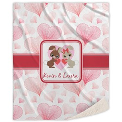 Hearts & Bunnies Sherpa Throw Blanket (Personalized)