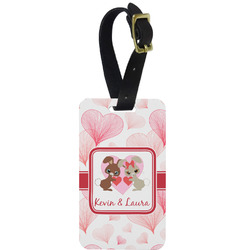 Hearts & Bunnies Aluminum Luggage Tag (Personalized)