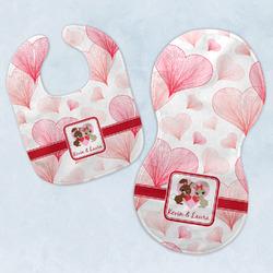 Hearts & Bunnies Baby Bib & Burp Set w/ Couple's Names