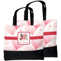 Hearts & Bunnies Beach Tote Bag (Personalized)