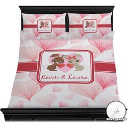 Hearts & Bunnies Duvet Cover Set (Personalized)