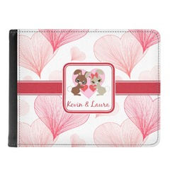 Hearts & Bunnies Genuine Leather Men's Bi-fold Wallet (Personalized)