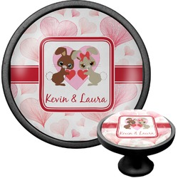 Hearts & Bunnies Cabinet Knob (Black) (Personalized)