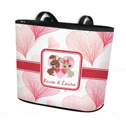 Hearts & Bunnies Bucket Tote w/ Genuine Leather Trim (Personalized)