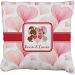 Hearts & Bunnies Faux-Linen Throw Pillow (Personalized)