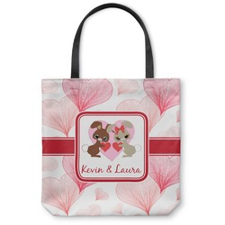 "Hearts & Bunnies Canvas Tote Bag - Small - 13""x13"" (Personalized)"