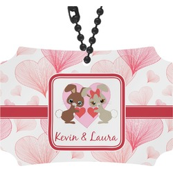 Hearts & Bunnies Rear View Mirror Ornament (Personalized)