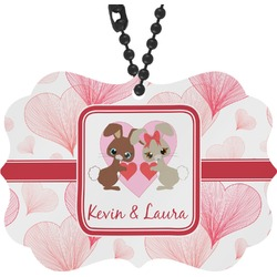 Hearts & Bunnies Rear View Mirror Decor (Personalized)