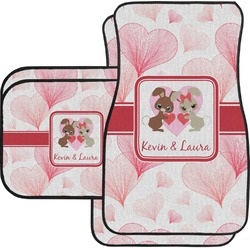 Hearts & Bunnies Car Floor Mats Set - 2 Front & 2 Back (Personalized)