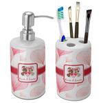 Hearts & Bunnies Bathroom Accessories Set (Ceramic) (Personalized)