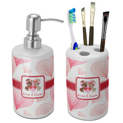 Hearts & Bunnies Ceramic Bathroom Accessories Set (Personalized)