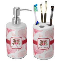 Hearts & Bunnies Ceramic Bathroom Accessories Set (Personalized)