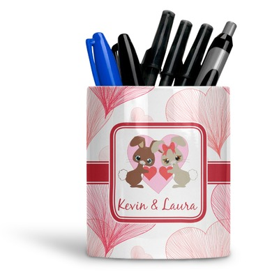 Hearts & Bunnies Ceramic Pen Holder