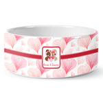 Hearts & Bunnies Ceramic Pet Bowl (Personalized)