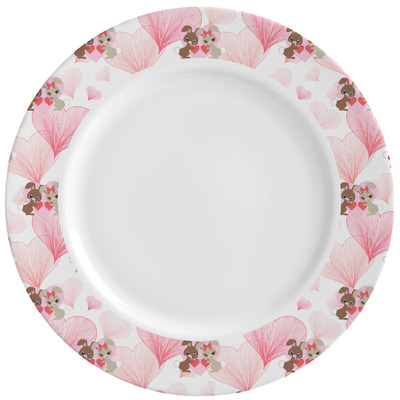 Hearts & Bunnies Ceramic Dinner Plates (Set of 4) (Personalized)