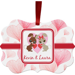 Hearts & Bunnies Ornament (Personalized)
