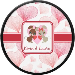 Hearts & Bunnies Round Trailer Hitch Cover (Personalized)