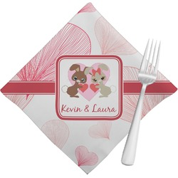 Hearts & Bunnies Cloth Napkins (Set of 4) (Personalized)