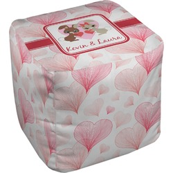 Hearts & Bunnies Cube Pouf Ottoman (Personalized)