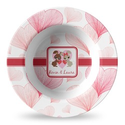 Hearts & Bunnies Plastic Bowl - Microwave Safe - Composite Polymer (Personalized)